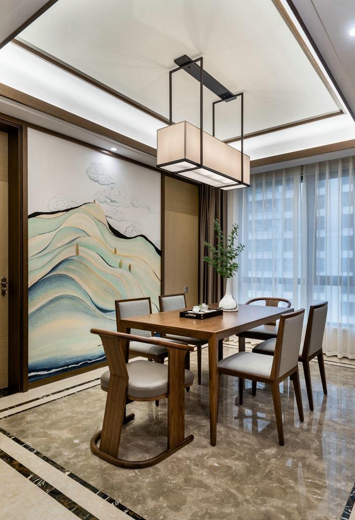 餐厅的背景墙面,选择了手绘墙纸的形式,选取的画面是很有禅意祥云和
