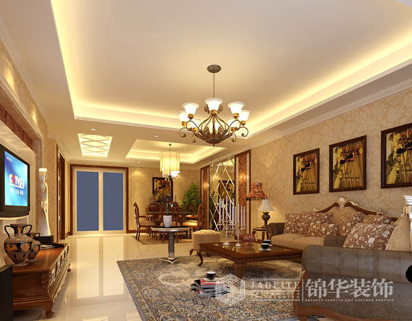 风格:欧式古典风格 户型:三室两厅装修效果图