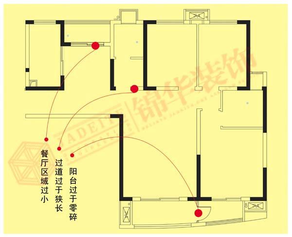 翠湖御景3 三室两厅两卫 东户户型 装修设计方案 徐州锦华装饰
