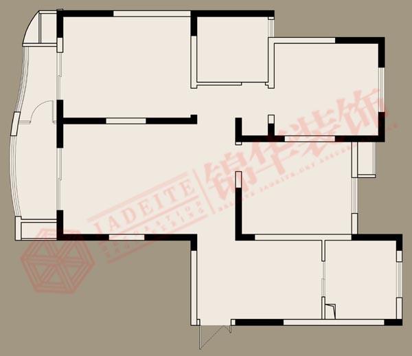 翠湖御景1 2号楼 三室两厅一卫 装修设计方案 徐州锦华装饰 高清图片